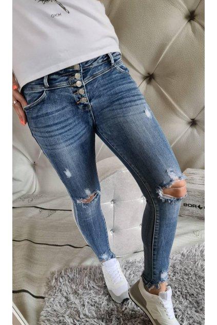 jeans stylové trhané modré s elastanem trendy