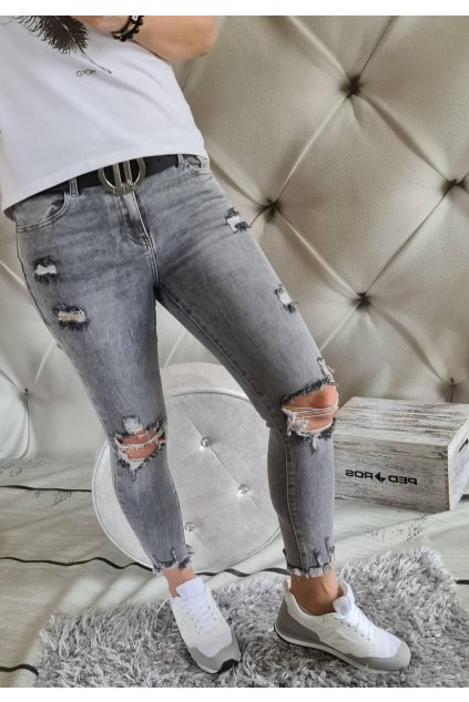 ŠEDÉ TRHANÉ jeans elastické a trendy III