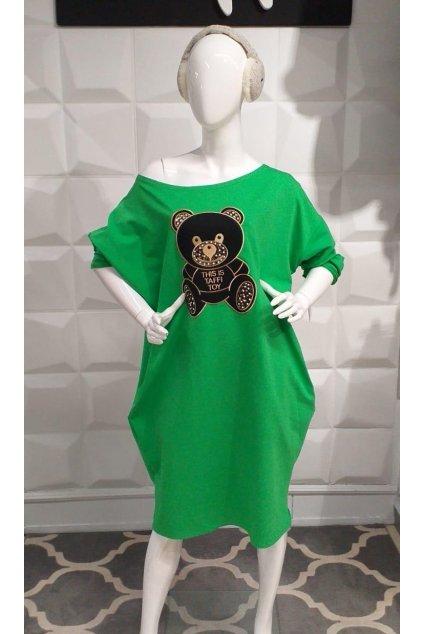 Mikinová tunika s medvidkem zelená nadměrná velikost