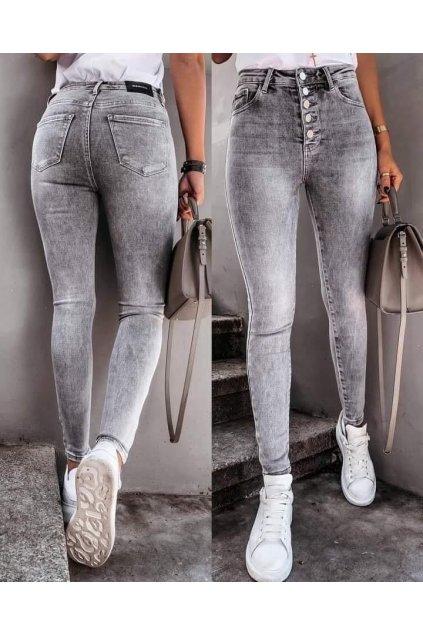 jeans šedé knoflíčky trendy elastické