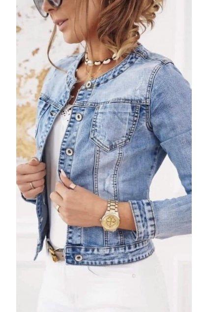 dámská jeans bunda trendy s elastanem modrá