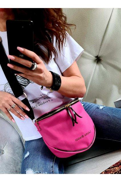 crossbody katys laura biaggi italy style luxus kabelka růžová II