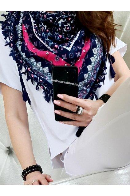 sefaris šátek modrá barva slabší materiál trendy tip na dárek