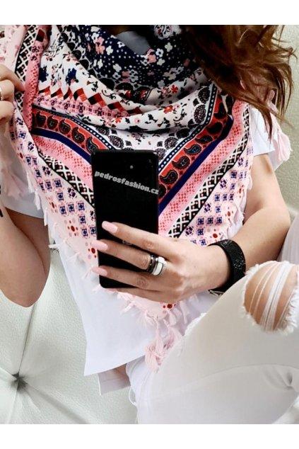 sefaris šátek růžová slabší materiál trendy tip na dárek