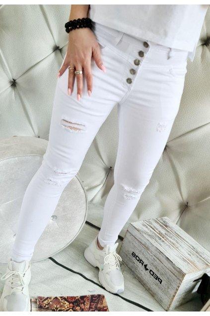 jeans bílé jemně trhané elastické maximalně pohodlné trendy luxus