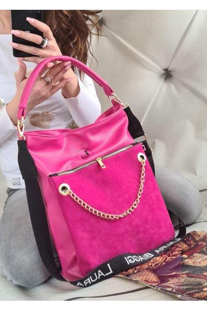 Laura Biaggi řetěz růžová trendy kabelka italy style luxusní kabelky eko kůže