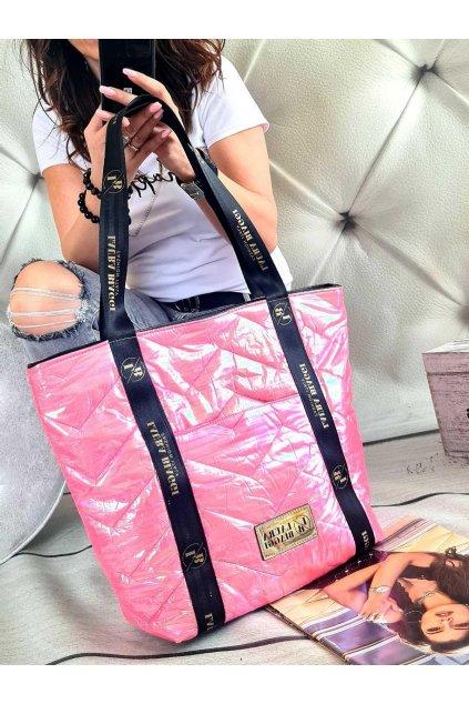 Kabelka Laura Biaggi růžová maxi trendy značková luxusní kabelka