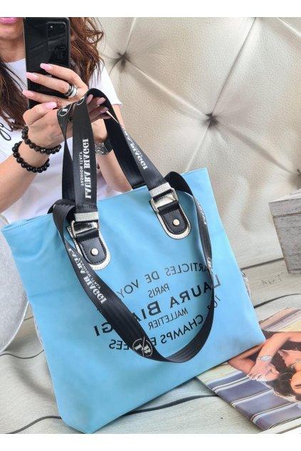 Kabelka Laura Biaggi Biaggis světle modrá trendy značková luxusní kabelka luxus