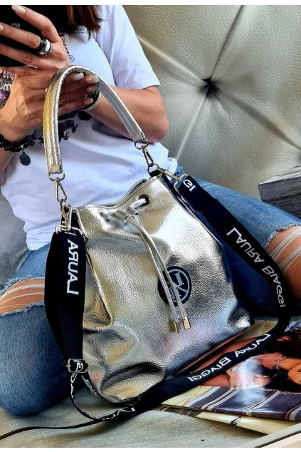 Kabelka Laura Biaggi vak stříbrný luxusní značková kabelka