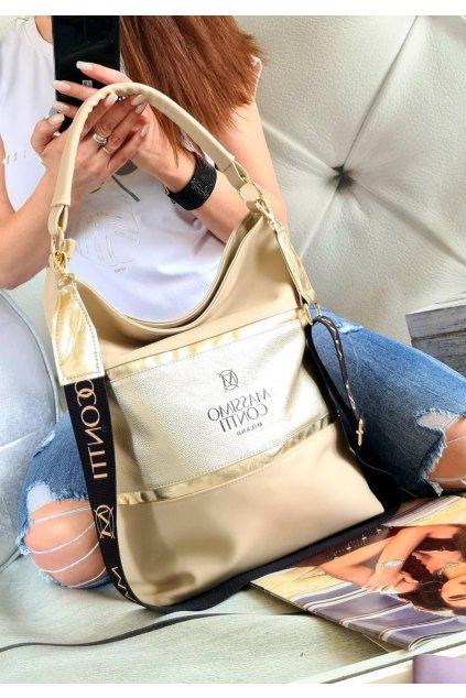 Kabelka Massimo contti béžová luxusní značková kabelka