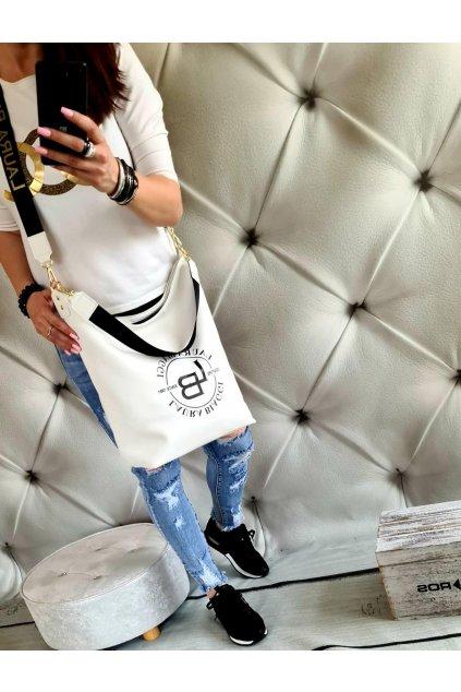 Kabelka pytel laura biaggi bílá značková luxusní nadčasová kabelka
