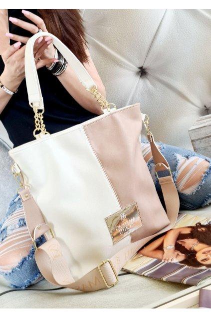 Massimo contti značková kabelka luxusní trendy italy fashion bílorůžová TOP