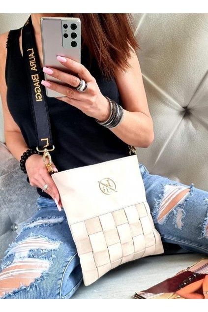 Laura Biaggi značková kabelka luxusní trendy crossbody béžová top design
