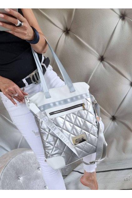 LAURA BIAGGI bílostříbrná enačková luxusní kabelka