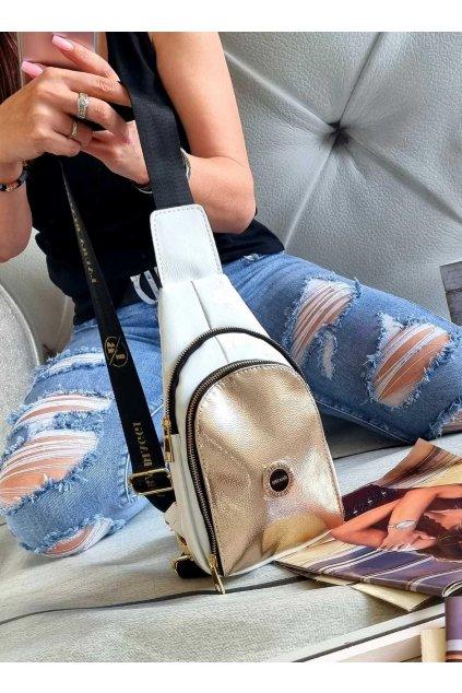 Dámský batoh ledvinka laura biaggi luxusní značkový batoh ledvinka bílozlatá