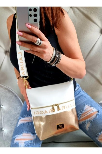 crossbody laura biaggi bílozlatá značková luxusní kabelka italy fashion