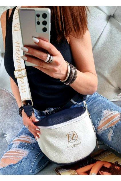 Massimo contti crossbody italy fashion značková luxusní kabelka bílomodrá