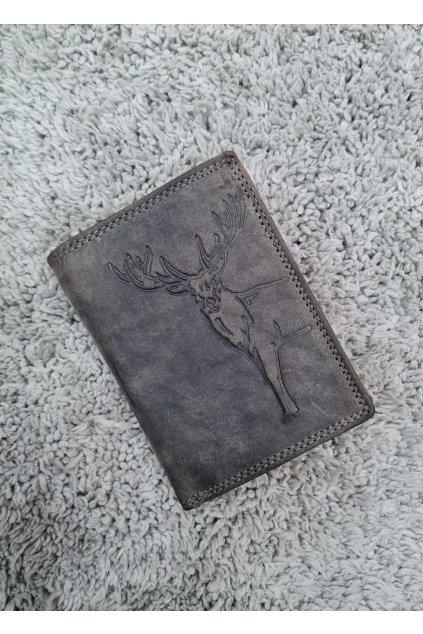 Pánská Kožená peněženka s jelenem šedá