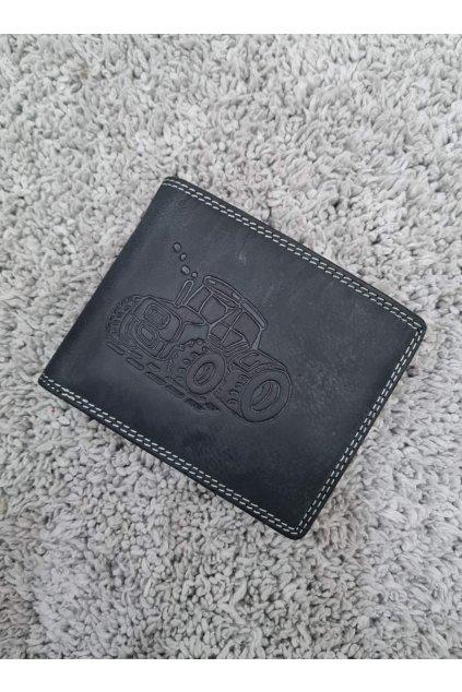 Pánská kožená peněženka s traktorem šedá