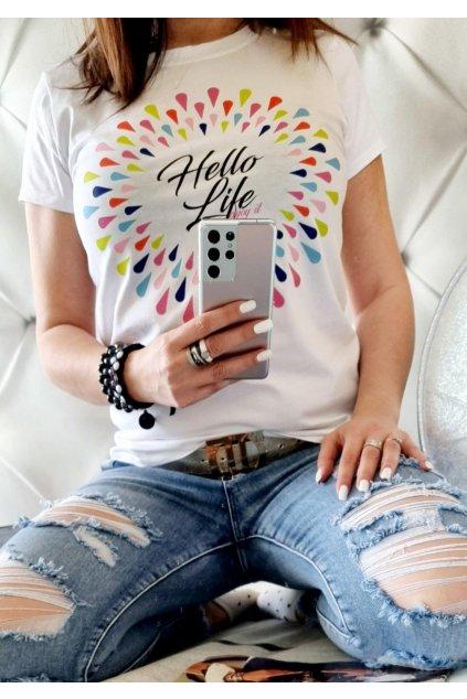 triko hello life bílé bavlněné uni white
