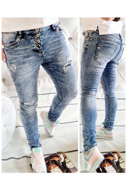 jeans modré falešně trhané trendy s elastanem blue modré