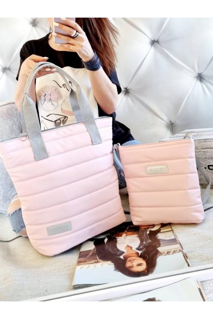komplet kabelek pedros značková nadčasová kabelka světle růžová