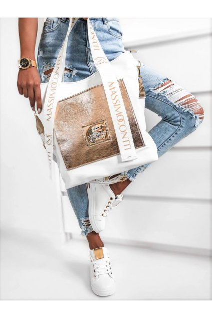 Massimo contti bílozlatá italy fashion luxusní značová kabelka