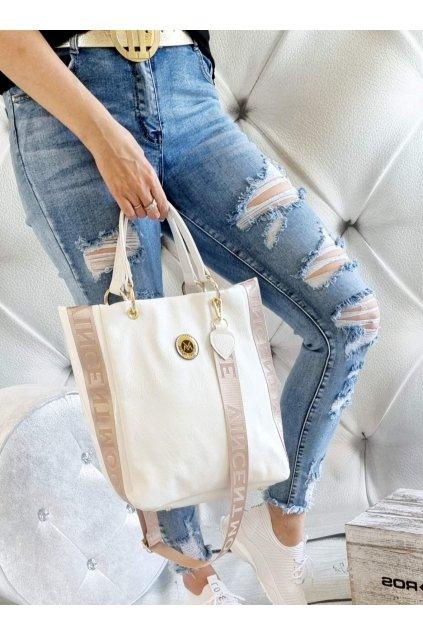 Vincent Moore kabelka bílá s béžovou trendy luxusní značková kabelka WHITE a BEIGE