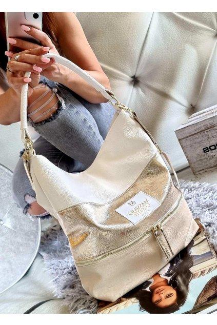 massimo contti béžovozlatobílá italy fashion trendy značková luxusní kabelka