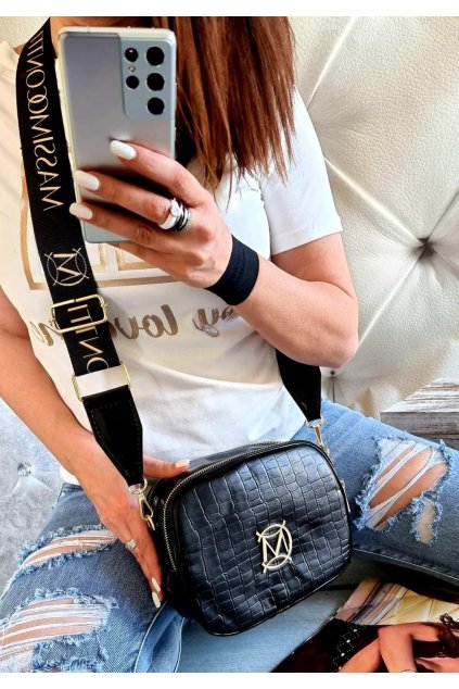 Massimo contti černá crossbody značková luxusní kabelka černá