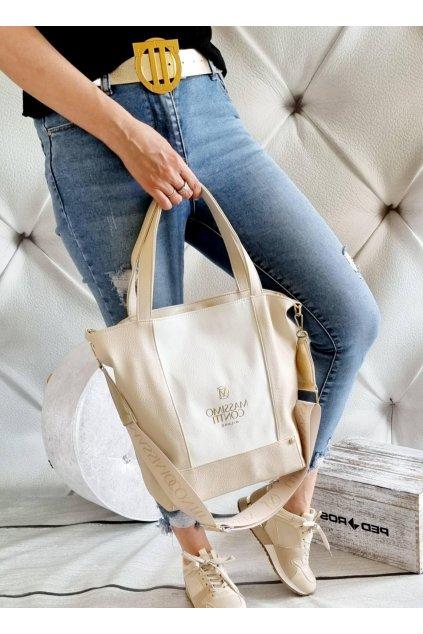 massimo contti béžovobílá italy fashion značková luxusní kabelka