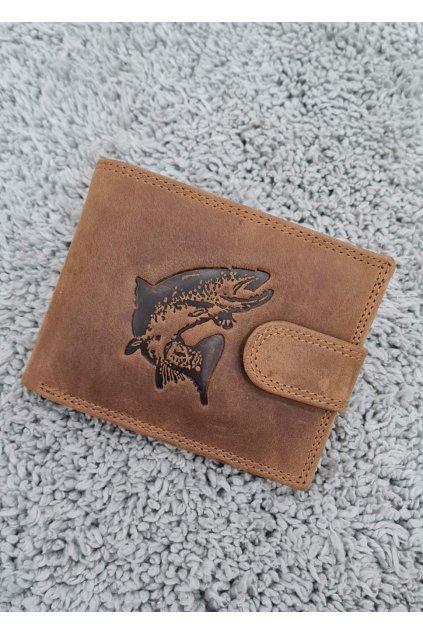 Pánská kožená peněženka s vyraženou štikou hnědá