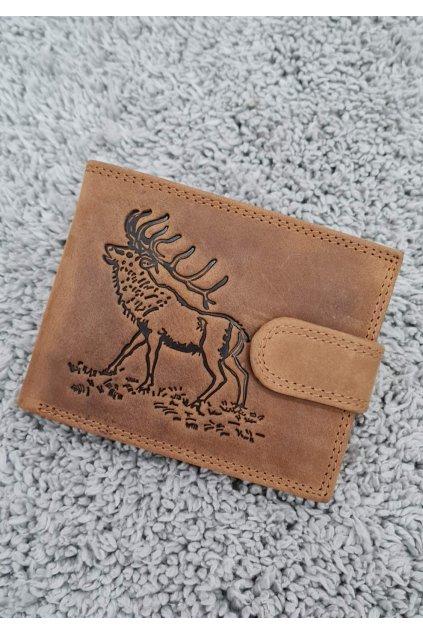 Pánská kožená peněženka s vyraženým s jelenem hnědá