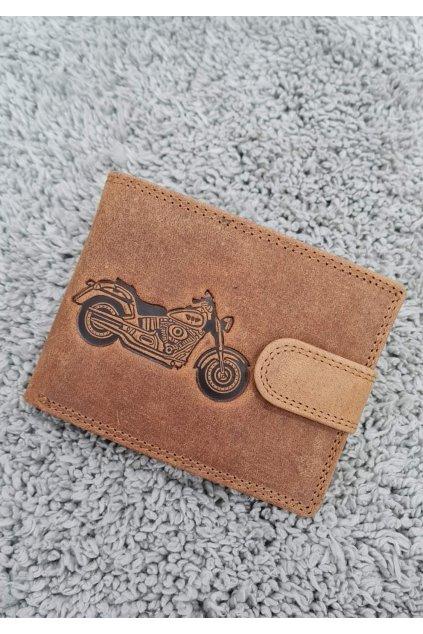 Pánská kožená peněženka s vyraženou motorkou hnědá