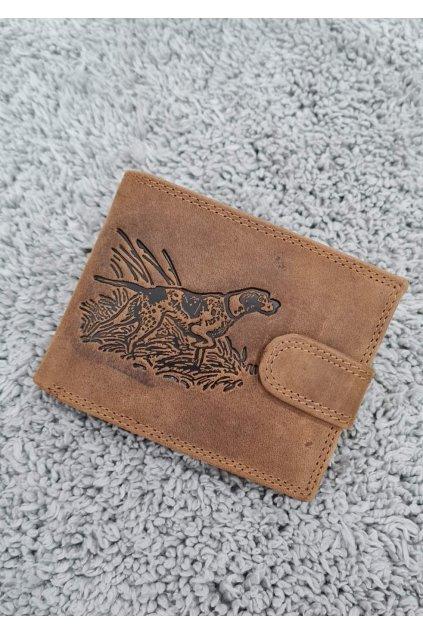 Pánská kožená peněženka s vyraženým loveckým psem hnědá