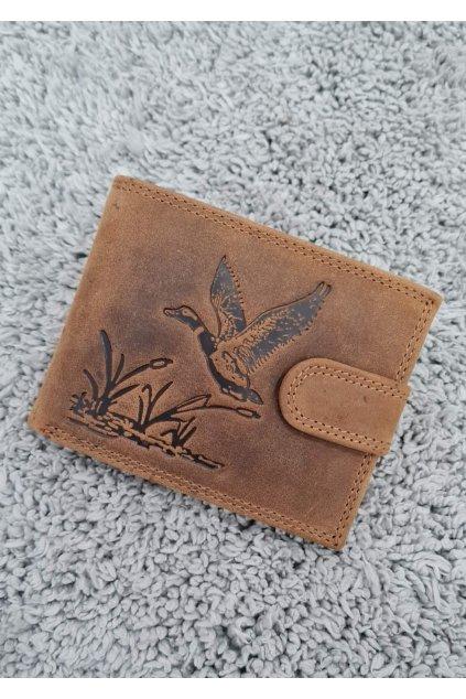 Pánská kožená peněženka s vyraženou kachnou hnědá