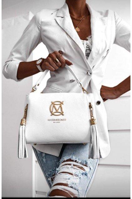 kabelka MASSIMO CONTTI značková luxusní KOŽENÁ kabelka bílá KŮŽE EXKLUSIVE