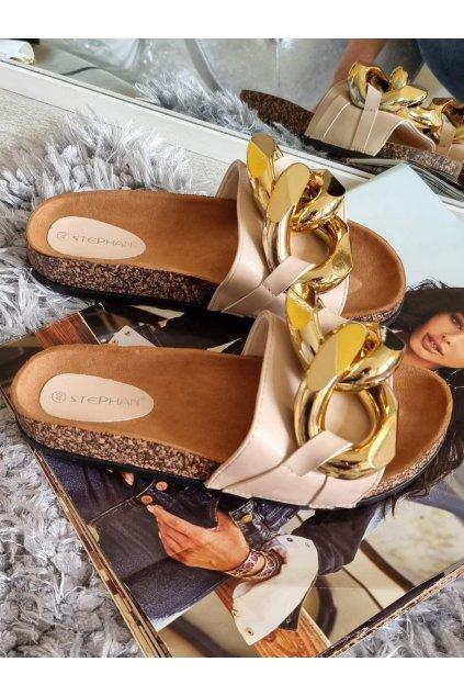 béžové pantofle s přeskou trendy letní obuv