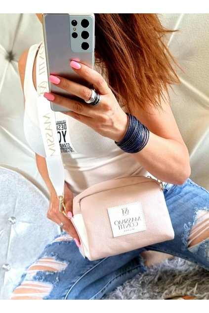 KABELKA massimo contti značková luxusní kabelka crossbody světle růžová