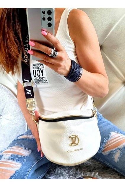 crossbody Vittoria značková kabelka luxusní bílá se zlatými doplňky