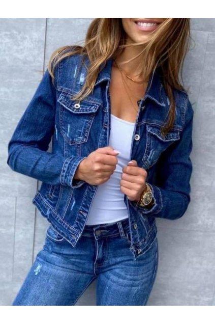 jeans bunda trendy tmavě modrá s límcem