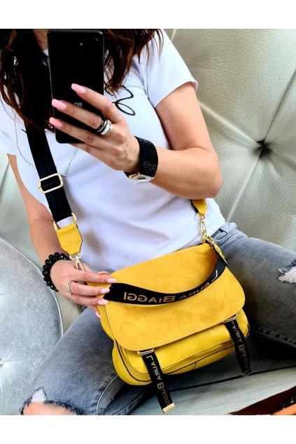 Kabelka Laura Biaggi crossbody žlutá luxusní značková kabelka