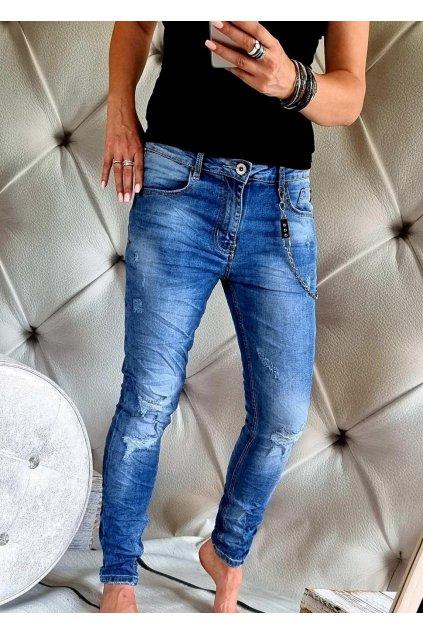 jeans modré trendy elastické nadměrné