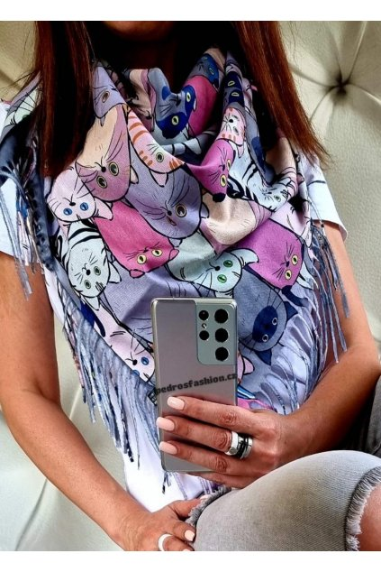 šátek kočka šedý trendy šátek kašmír