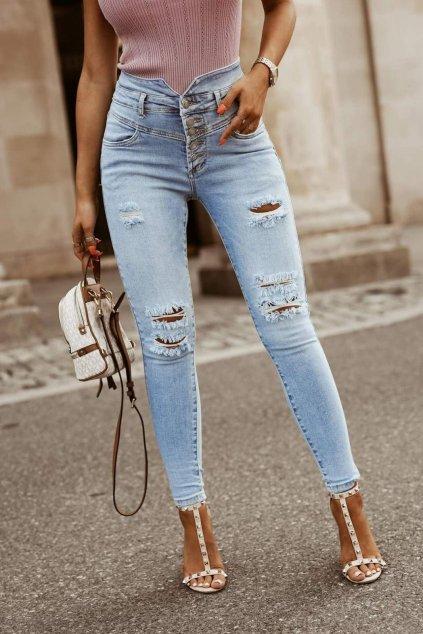 jeans světle modré vysoký pas trendy strečové s elastanem
