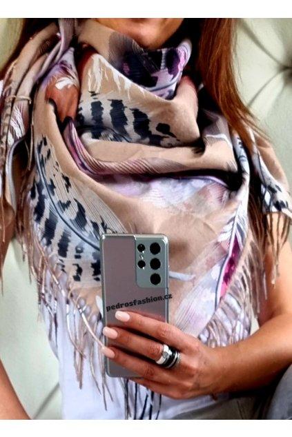 šátek trendy kašmír potisk peří béžový