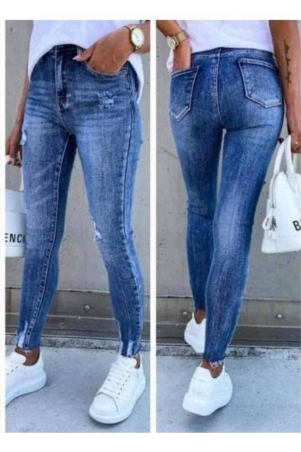 Trendy modní dámské elestcké jeansy modré