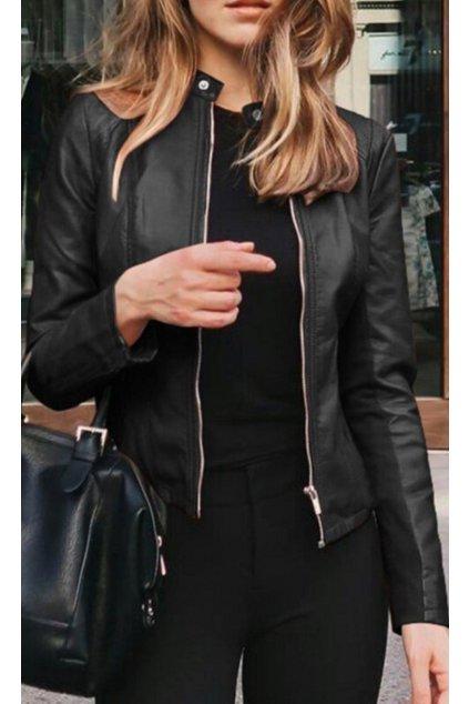 dámská koženková bunda černá trendy