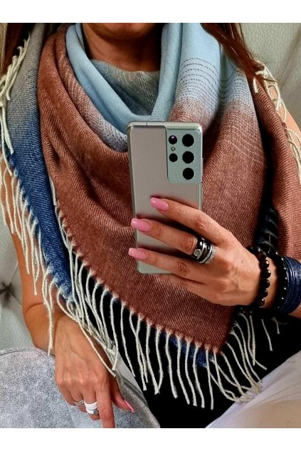šátek trendy florence hnědomodrý vlna