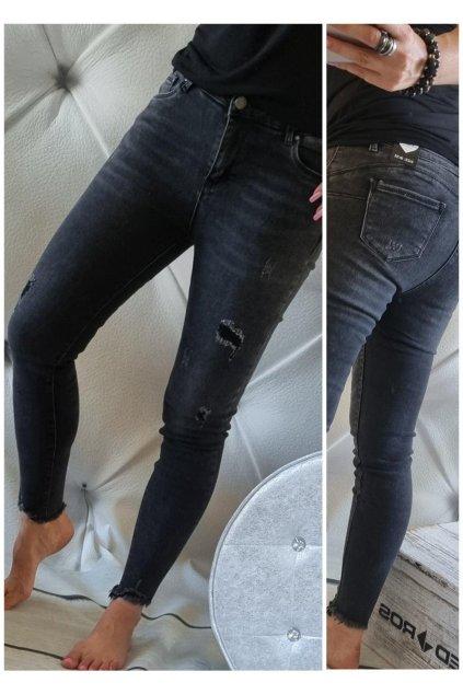 trendy jeans černé jemně trhané